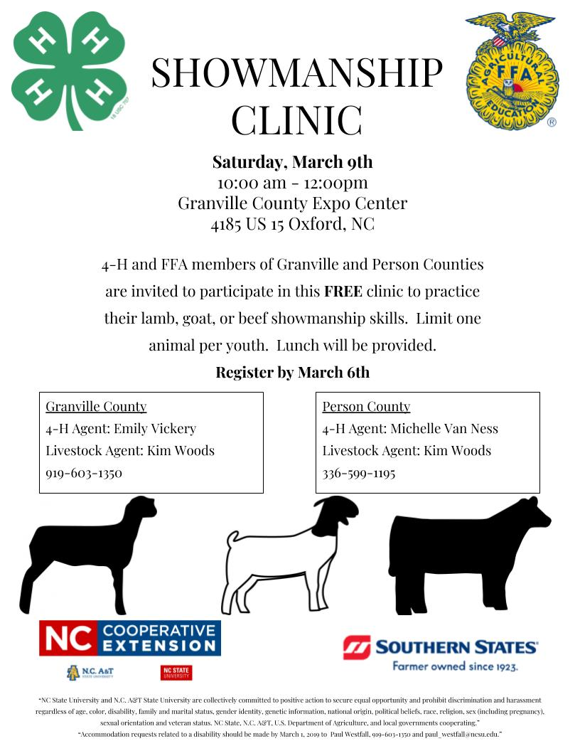 Showmanship Clinic flyer image