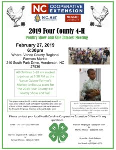 Cover photo for 2019 Four County 4-H Poultry Show & Sale Interest Meeting