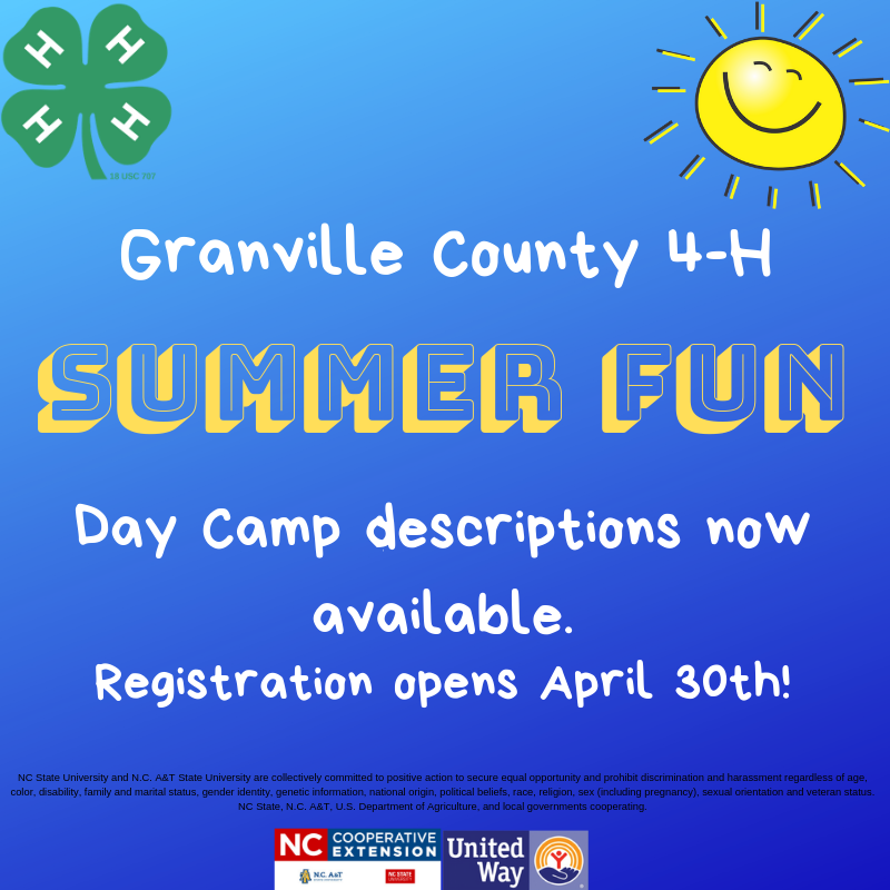 Granville 4-H Summer Fun Flyer regarding registration dates
