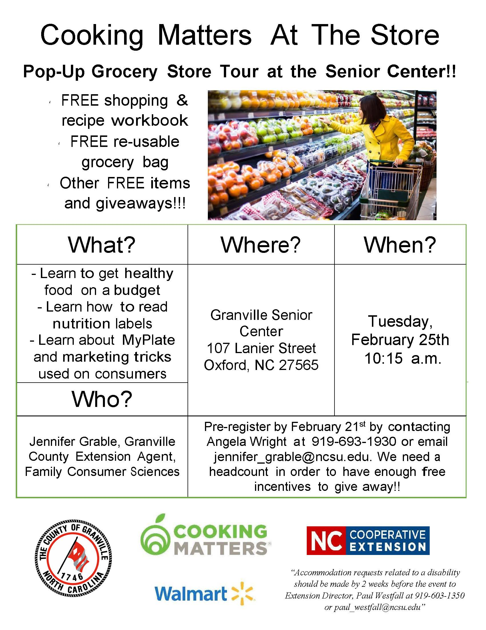 grocery store tour flier