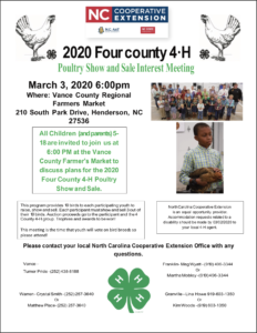 Cover photo for 2020 Poultry Show and Sale Interest Meeting March 3rd