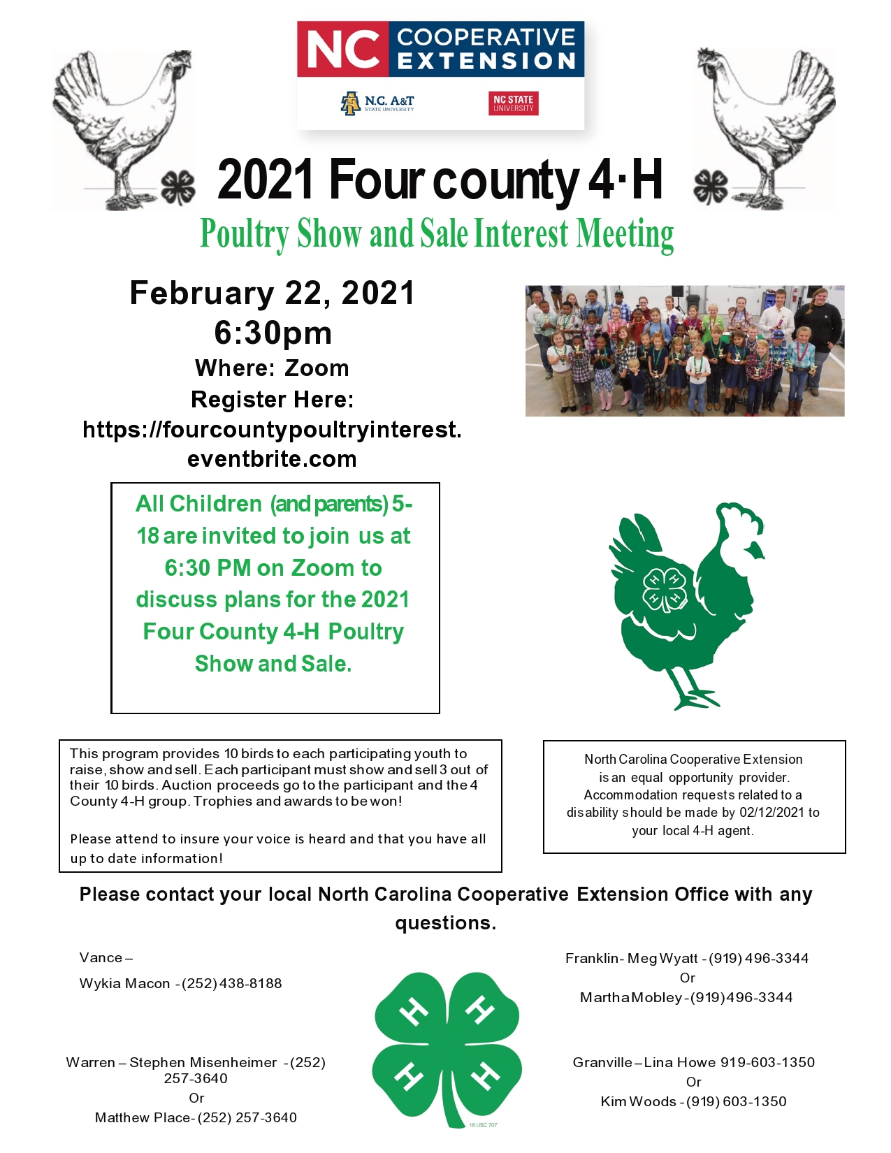 Four County 4-H Poultry Show and Sale flyer