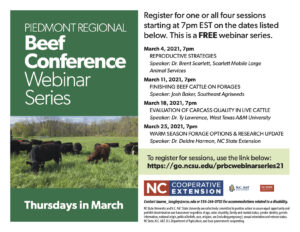 Cover photo for 2021 Piedmont Regional Beef Conference Webinar Series