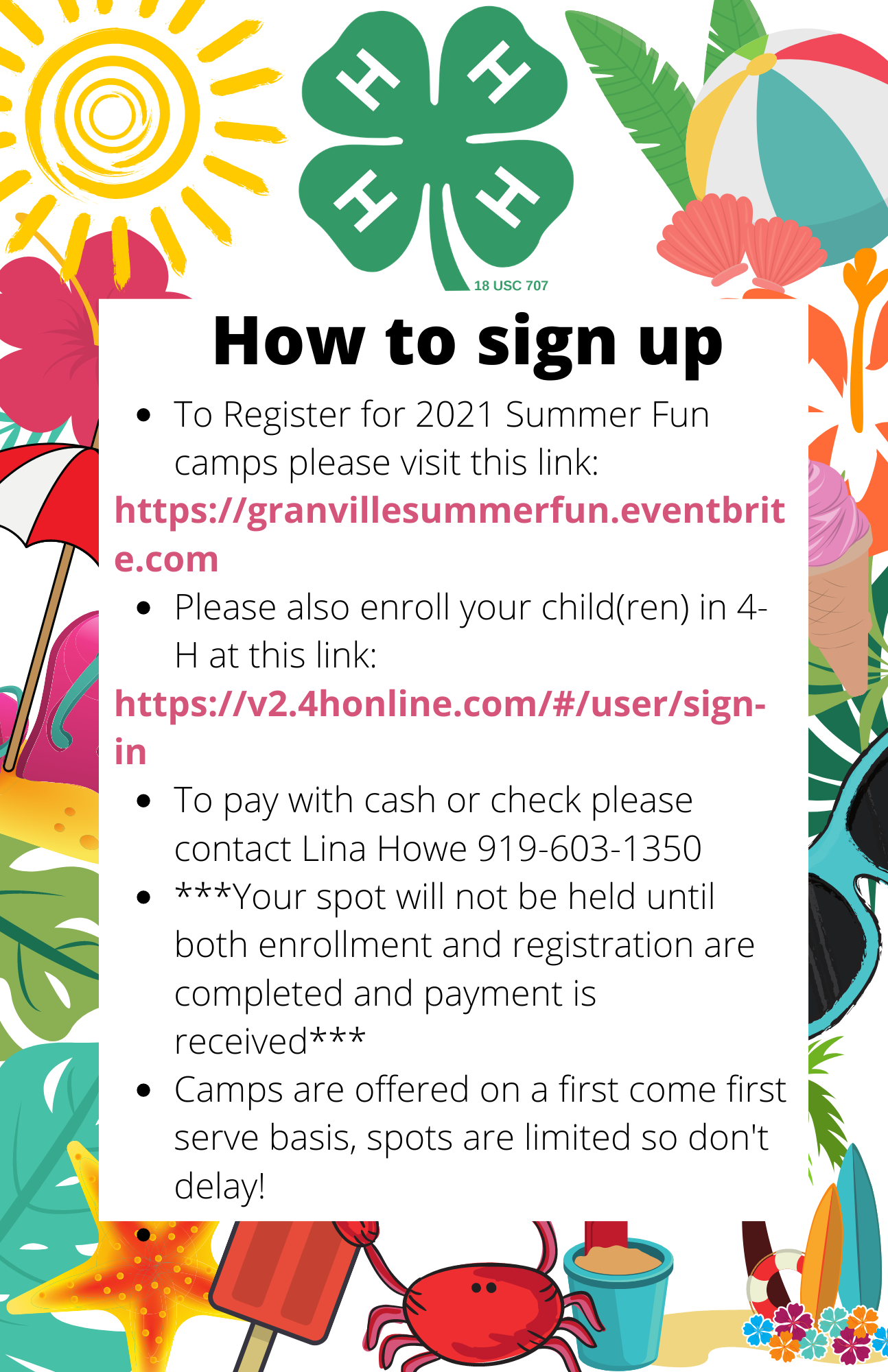 Summer Fun sign up flyer image
