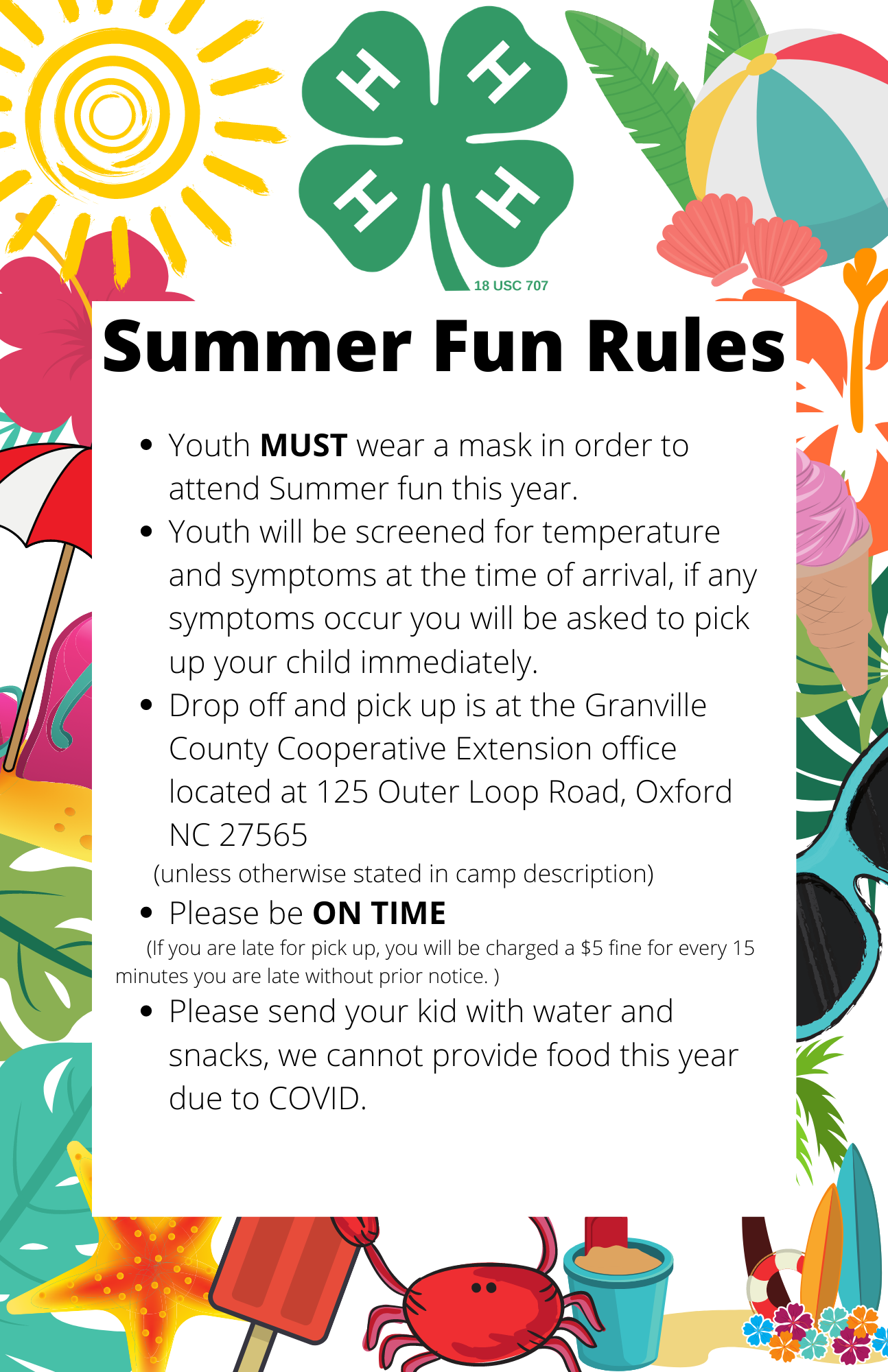 Summer Fun rules flyer image