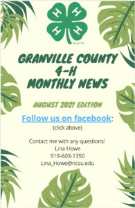 Cover photo for Granville County 4-H Monthly News - August Edition